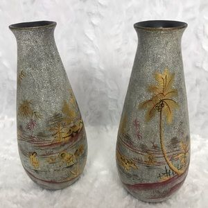 Lot of 2 Vintage Vietnamese Vases Painted Bamboo